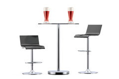 Black Bar Vintage Stools with Table and Glasses of Beer Stock Images