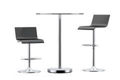 Black Bar Vintage Stools with Table Stock Photos
