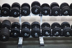 Black Barbells at the gym. Barbells at the gym. Black rubber dumbbells for choice Royalty Free Stock Photo