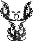 Black Baroque angel pattern Royalty Free Stock Photo