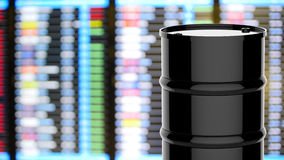 Black barrel with business graph. 3d rendering black barrel with business graph stock illustration