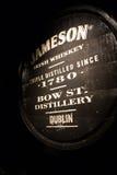 Black barrel with local triple destilled Irish whiskey Stock Photos