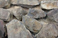 Black Basalt Rock Retaining Wall Stock Photos