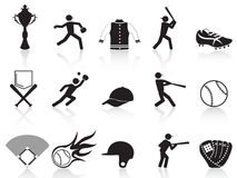 Black baseball icons set Royalty Free Stock Photography