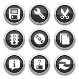 Black basic application buttons Royalty Free Stock Images