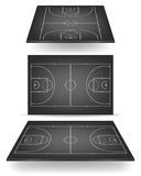 Black basketball court with perspective Stock Images