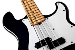 Black bass guitar close up Royalty Free Stock Image