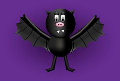 A black bat cartoon character with a fat tummy. Cute not scary. Royalty Free Stock Photography