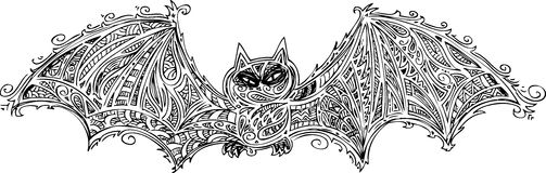 Black bat doodle vector Royalty Free Stock Photos