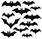 Black bat set. Cartoon set of black silhouettes of bats, vector Royalty Free Stock Image