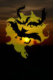 Black bat silhouettes halloween background Stock Photography