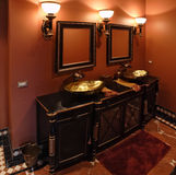 Black bathroom Stock Images