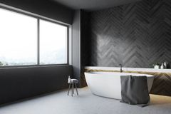 Black wooden bathroom corner, round tub. Black bathroom corner with a concrete floor and a round tub standing near a large window. 3d rendering mock up royalty free illustration