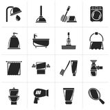 Black Bathroom and hygiene objects icons stock illustration