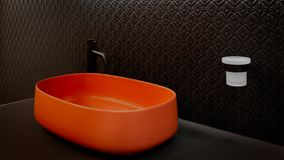 Black bathroom interior with red terracotta  sink and modern techno style black faucet Royalty Free Stock Photos