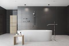 Black bathroom interior white tub Royalty Free Stock Images