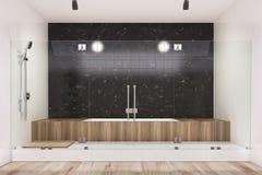 Black bathroom interior, wooden tub, shower Stock Photo