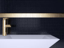 Black bathroom. Royalty Free Stock Photography
