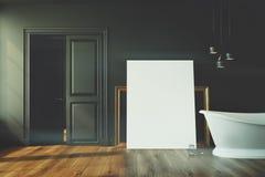 Black bathroom, white tub, poster toned Royalty Free Stock Photo