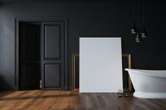 Black bathroom, white tub, poster Stock Image