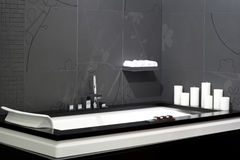 Black bathtub Stock Images