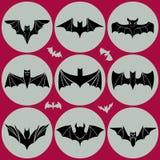 Black bats. Set. Flat sty Royalty Free Stock Images