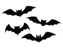 Black bats set on a white background Royalty Free Stock Images