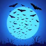 Black bats silhouettes on big blue moon at dark Stock Photography