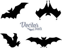 Black bats silhouettes vector set Royalty Free Stock Photography