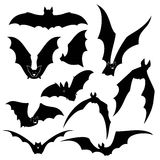 Black bats vector silhouettes set. Wing and halloween, vampire animal, wildlife design illustration Stock Photos