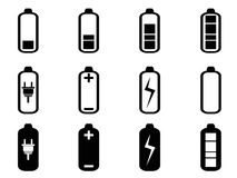 Black battery icons set Royalty Free Stock Image