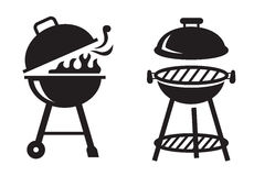 Black BBQ Grill icons. Vector black BBQ Grill icons on white background Royalty Free Stock Photo