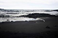Black beach. View of theblack beach on Big Island Hawaii stock photo