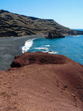 Black beach at El Golfo Lanzarote Royalty Free Stock Photo