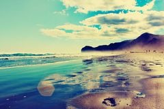 Black beach royalty free stock images