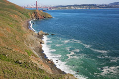 Black Beach on Golden Gate Strait Royalty Free Stock Photos