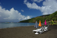 Black beach on Guadeloupe Stock Photo
