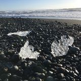 Black beach ice Iceland peace royalty free stock image