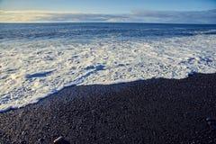 Waves of the Atlantic Ocean. Black beach in Iceland. Atlantic Ocean royalty free stock image
