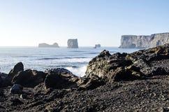 Black Beach Iceland Coast Stock Image