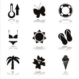 Black Beach Icons Royalty Free Stock Photo
