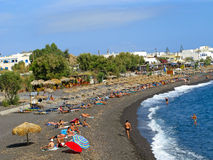 Black beach on Santorini island Stock Photos