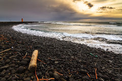Black beach sunset Iceland Stock Photos