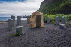 Black beach in Vik. Memorial of German sailors in the beach in Vik town in Iceland royalty free stock photography