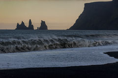 Black beach in Vik, southern Iceland Royalty Free Stock Image