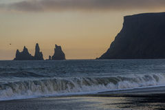 Black beach in Vik, southern Iceland royalty free stock photography