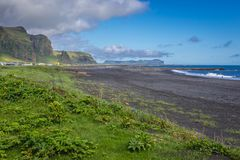 Black beach in Vik. View on the beach in Vik town in Iceland royalty free stock images