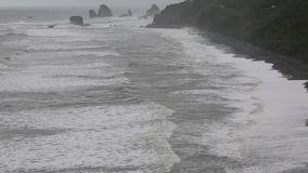 Black beach of west coast stock video