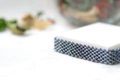 Black beaded bracelet hematite color Stock Images