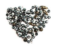 Black beads heart. Jewelry Valentine's Day  black beads heart isolated Stock Photo